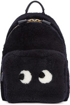Anya Hindmarch Navy Shearling Mini Eyes Right Backpack