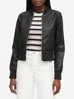 Banana Republic Vegan Leather Cropped Bomber