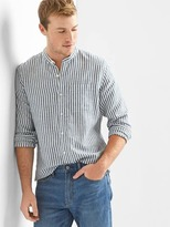 Gap Stripe band collar linen-cotton shirt