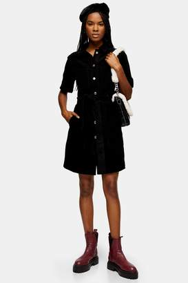 Topshop Womens Tall Corduroy Utility Shirt Dress - Black