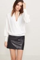 Dynamite Ribbed Wrap Top with Sleeve Details