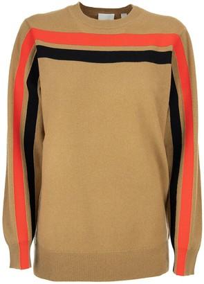 Burberry Stripe Detail Technical Cashmere Sweater Steffy Beige