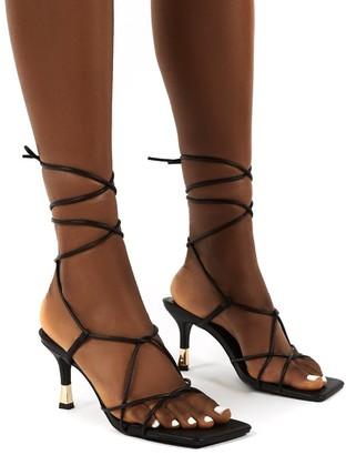 Public Desire Uk Orion Lace Up Ankle Square Toe Kitten Heels