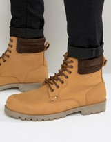 Asos Lace Up Boots In Tan Leather