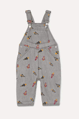 Stella McCartney Embroidered Organic Cotton-chambray Dungarees - Gray