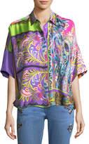 Etro Floral Paisley Silk Dolman Shirt