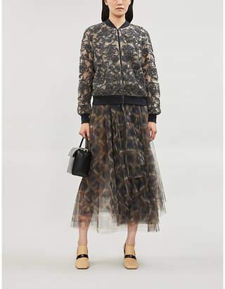 Brunello Cucinelli Bead-embellished sheer silk-crepe jacket