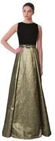 Carmen Marc Valvo Bead Waist Metallic Pleated Gown.