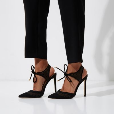 River Island Womens Black two part dobby mesh court shoes