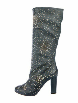 Chloé Leather Studded Accents Boots Green