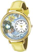 Whimsical Watches Unisex G0910003 Imitation Birthstone: March Yellow Leather Watch