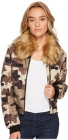 Romeo & Juliet Couture Camo Bomber Jacket with Faux Fur Collar