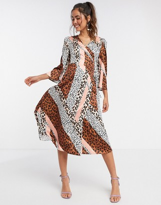 Liquorish kimono sleeve midi dress in panelled animal print