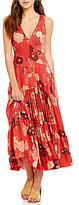 Free People Sure Thing Scoop Neck Sleeveless Printed A-Line Maxi Dress