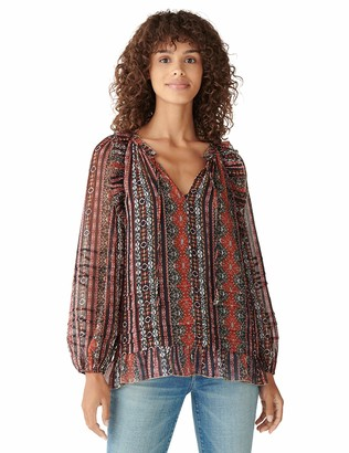 Lucky Brand Women's Long Sleeve Chiffon Printed Peasant Top