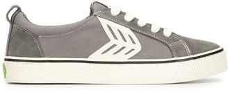 Cariuma CATIBA Low Stripe Charcoal Grey Suede and Canvas Contrast Thread Sneaker