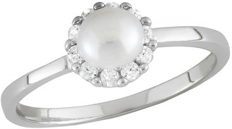 Tiara Kid' Round Cubic Zirconia and Frehwater Pearl Flower Ring in terling ilver (4-5mm)