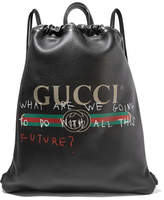 Gucci Printed Textured-leather Backpack - Black