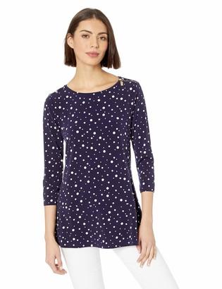 Chaus Women's 3/4 SLV Dot Zip Shoulder Top