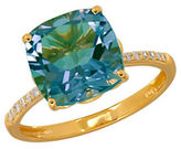 Lord & Taylor 0.07TCW Diamonds, Aquamarine and 14K Yellow Gold Ring