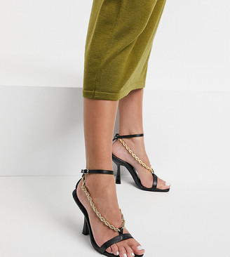 Z Code Z Z_Code_Z Exclusive Loren vegan heeled sandals with chain detail in black