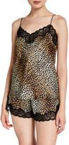 Neiman Marcus Leopard-Print Lace-Trim Silk Cami