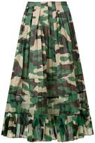 Junya Watanabe pleated camouflage midi skirt