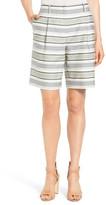Lafayette 148 New York 'Rivington' Pleat Front Stripe Cotton Blend Shorts