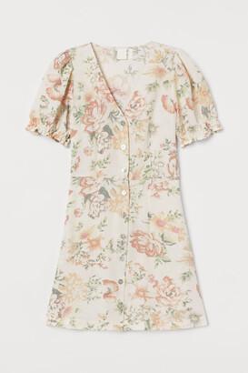 H&M Puff-sleeved Dress - White