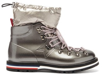 Moncler Inaya Removable Quilted-insert Rubber Boots - Silver