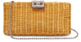 Rodo Leather-trimmed Wicker Clutch Bag - Womens - Brown