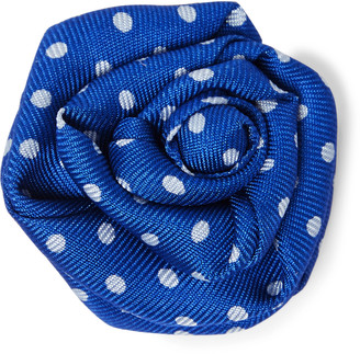 Charvet Polka-Dot Silk-Faille Flower Lapel Pin - Men - Blue