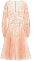 Costarellos Layered Embroidered Flocked Tulle Dress