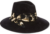 Eugenia Kim Emmanuelle Feather-trimmed Rabbit-felt Fedora - Black