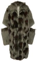 Michael Kors Leopard Intarsia Fur Duffle Coat