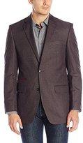 Perry Ellis Men's Box Check Slim Fit Sport Coat, Charcoal/Wine