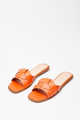 Nasty Gal Womens Back Flat It Faux Leather Sandals - Orange