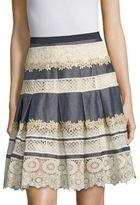 Elie Tahari Nicolette Lace Inset Pleated Skirt