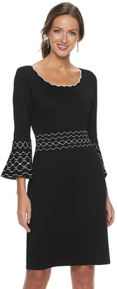 Nina Leonard Women's Jacquard Bell-Sleeve Sweater Dress