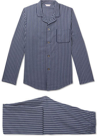 Derek Rose Royal 211 Striped Cotton Pyjama Set