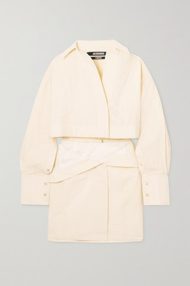Jacquemus Terraio Buckled Cutout Cotton-blend Mini Shirt Dress - Off-white
