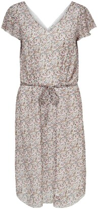 Jacqueline De Yong Jennifer Floral Print Midi Dress with Tie-Waist