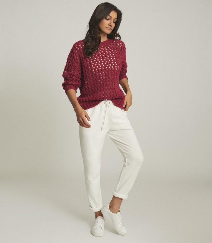 Reiss Natalie - Open-knit Oversized Jumper in Pink