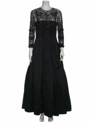 Oscar de la Renta Crew Neck Long Dress Black