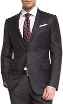Ermenegildo Zegna Trofeo Wool Tonal-Check Two-Piece Suit, Charcoal