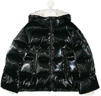 Moncler Enfant Patent Hooded Down Coat