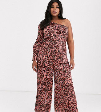 Unique21 Hero satin one sleeve leopard print jumpsuit