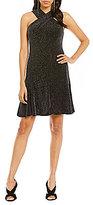 MICHAEL Michael Kors Metallic Dot Mesh Knit Halter Cross-Neck Dress