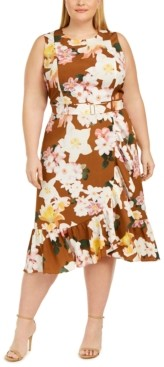 Calvin Klein Plus Size Belted Ruffled Midi Dress