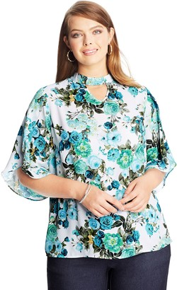 Just My Size Women's Plus Floral Tulip Sleeve Top